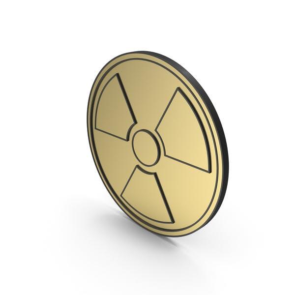 Strahlungszeichen Gold Schwarz eingefasst