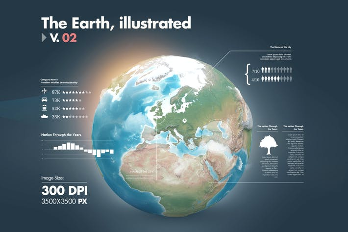 Thumbnail for Illustrations of the Earth with Infographics v2