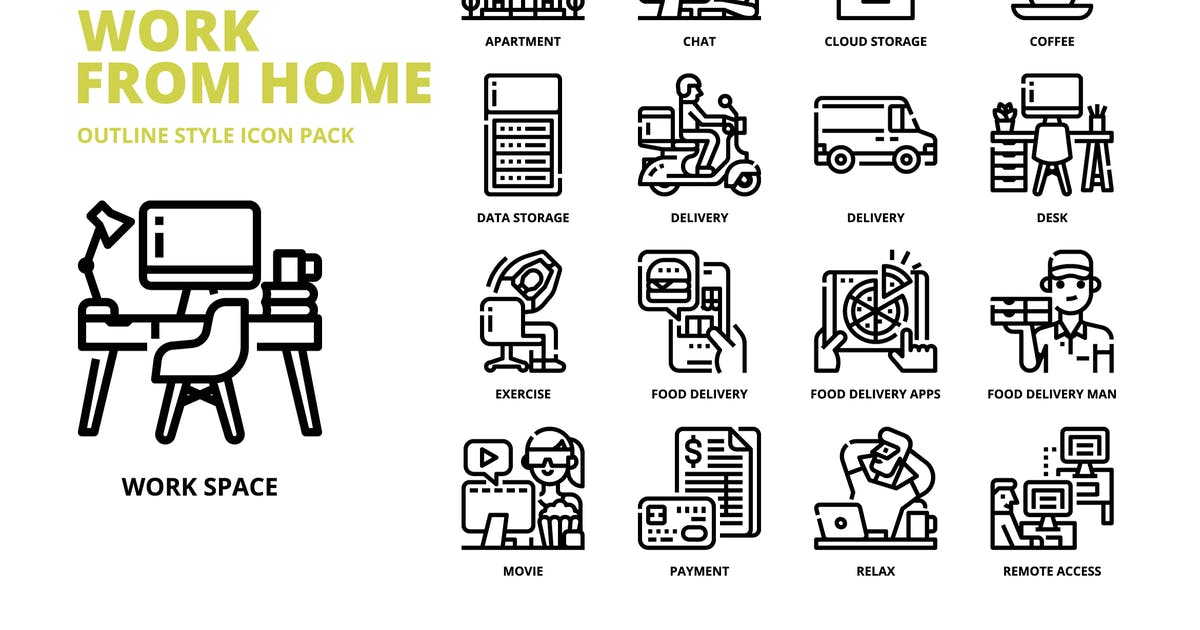 Download Work from Home Outline Style Icon Set by monkik