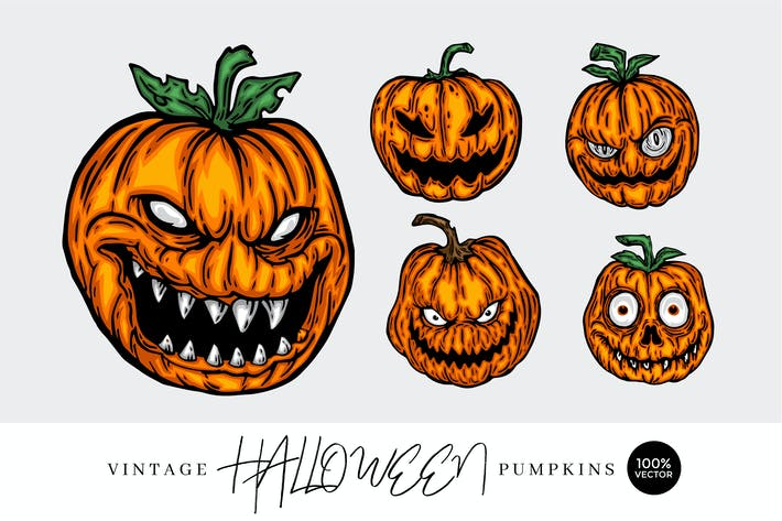 Thumbnail for 5 Vintage Hand Drawing Pumpkin Monster Vector