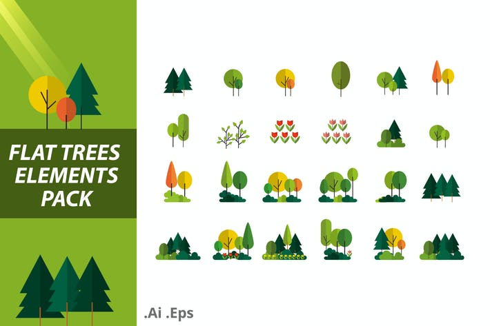 Thumbnail for Flat Trees Elements Pack