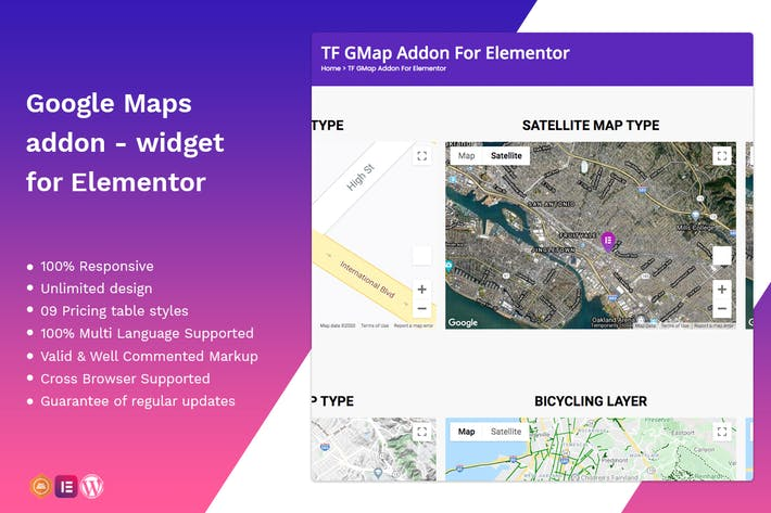 Thumbnail for Google Maps addon - widget for Elementor