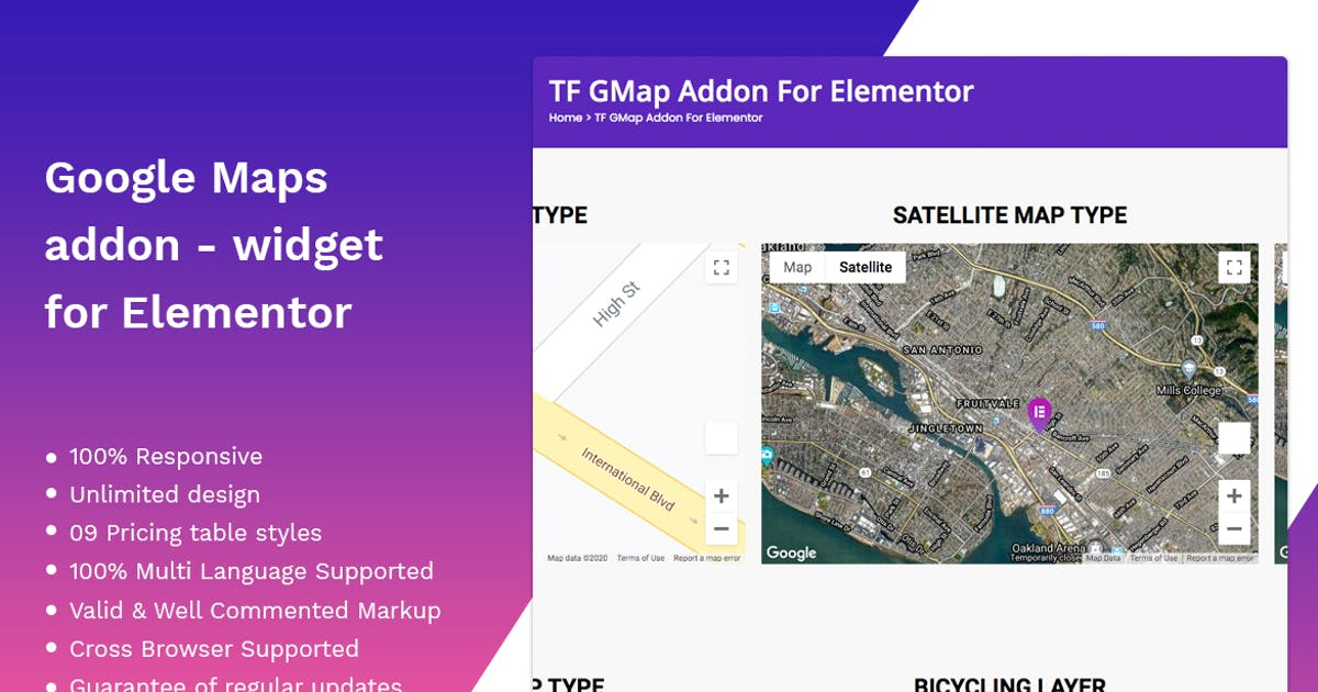 Download Google Maps addon - widget for Elementor by themesflat