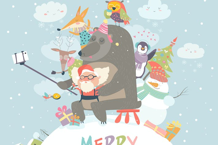 Thumbnail for Cute animals with Santa Claus take a selfie