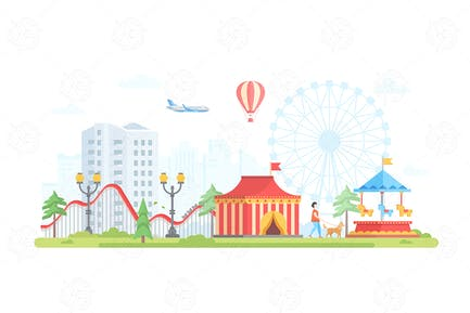 Cityscape with attractions - flat illustration