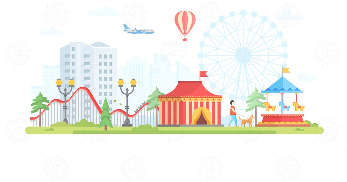 Download Cityscape with attractions - flat illustration by BoykoPictures