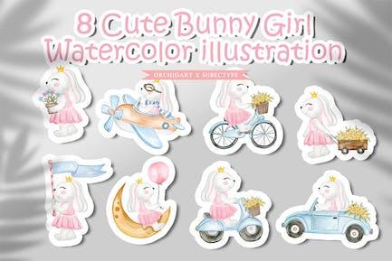 niedliche Bunny Girl Aquarell-Illustration