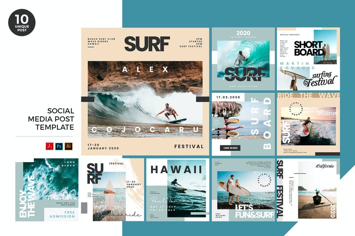 Thumbnail for Extreme Surf Social Media Kit PSD & AI Template