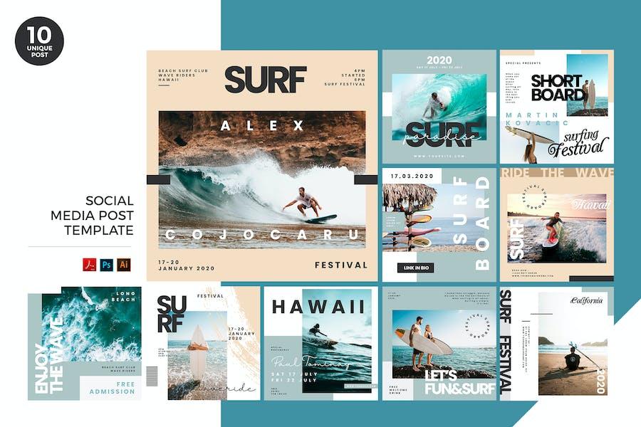 Extreme Surf Social Media Kit PSD & AI Template