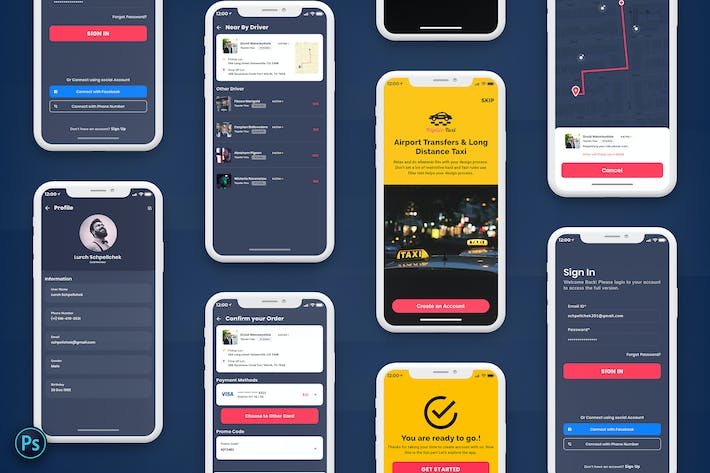 Thumbnail for Taxi Booking Mobile App UI Kit Dark Version