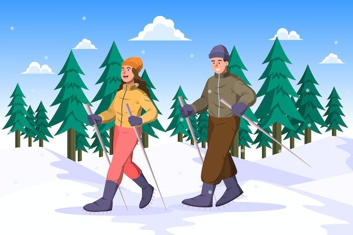 Snowshoeing - Winter Activity Illustration