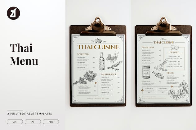 Thai style vintage menu template - product preview 0