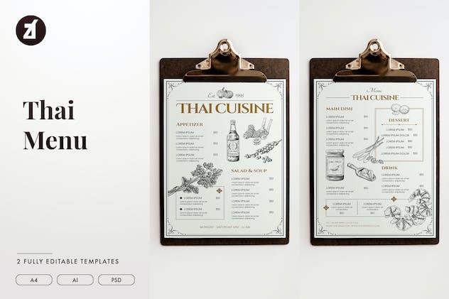 Thai style vintage menu template
