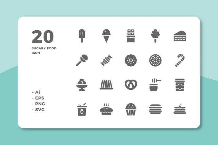 Cover Image For 20 Sugary Food Icons (Solid)