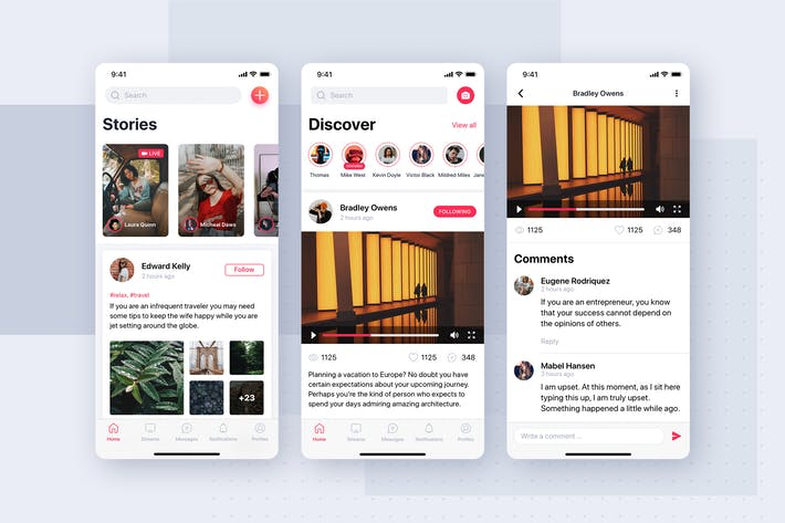 Thumbnail for Stories mobile app UI template