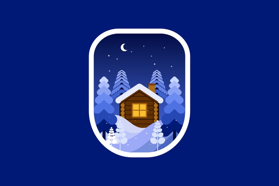 Cabin on night in the wood