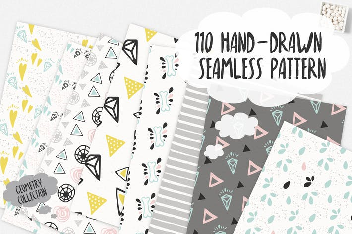 Thumbnail for 110 Hand-Drawn Seamless Patterns