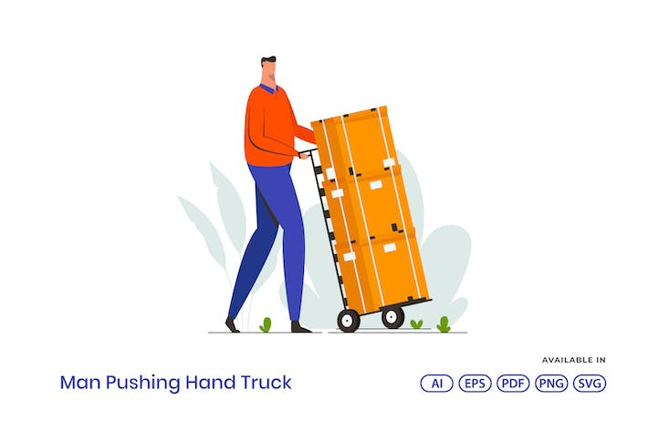 Thumbnail for Man Pushing Hand Truck Illustration