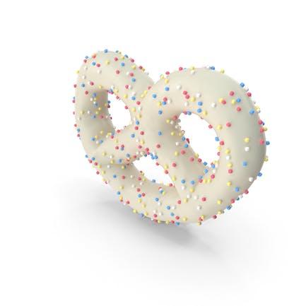 Joghurt-bedeckte Mini-Brezel mit farbigen Pops