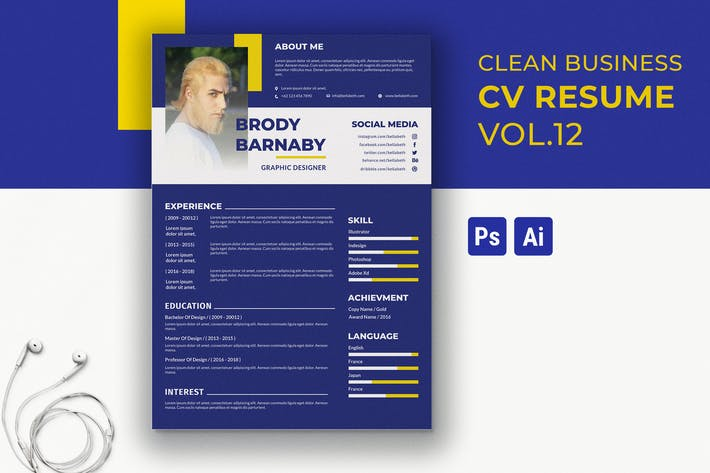 Cover Image For Clean Resume Template Vol. 13