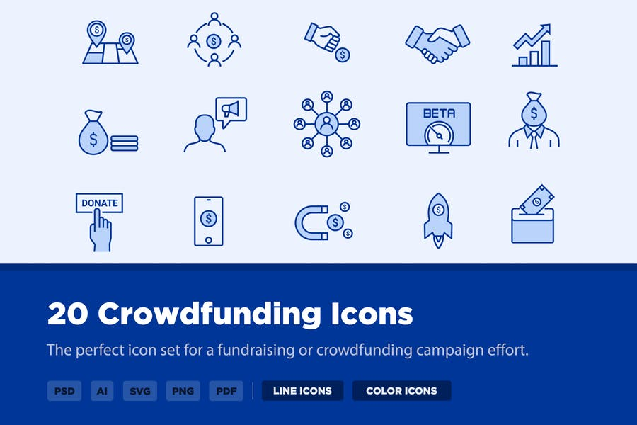 30 Crowdfunding-Icons