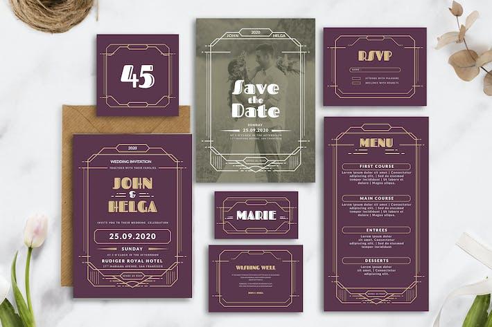 Thumbnail for Royal Art Deco - Hochzeitseinladung