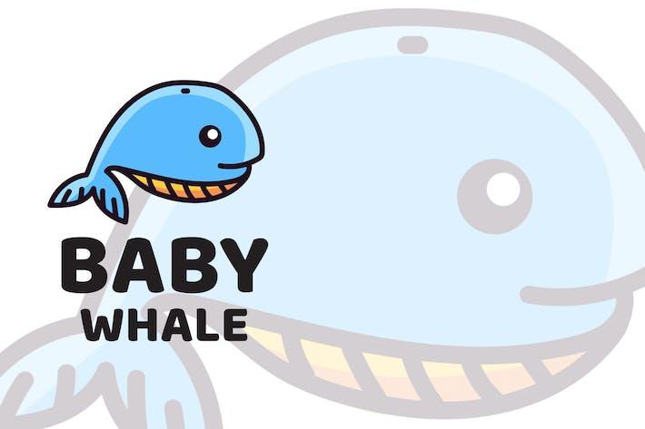 Baby Whale Cute Logo Template
