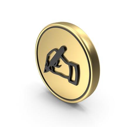 Hinweis Kommentar schreiben Münzen-Logo-Symbol