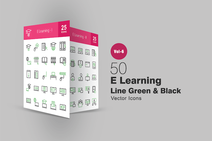 Thumbnail for 50 E Learning Green & Black Line Icons