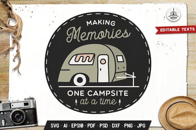 Camping Memories Badge Vector Retro Graphic Logo
