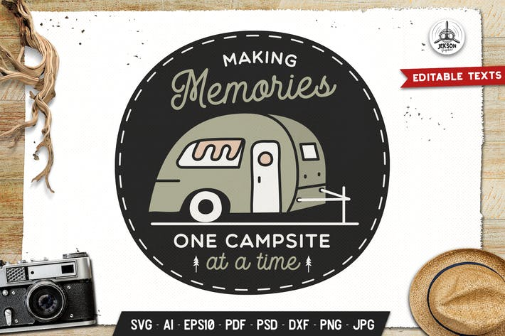Thumbnail for Camping Memories Badge Vector Retro Graphic Logo