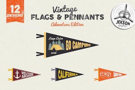 Banderines de Aventura y Etiquetas Vintage/Logo