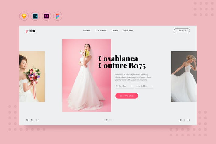 Thumbnail for DailyUI.V11 Bridal Dress Rent Website Landing