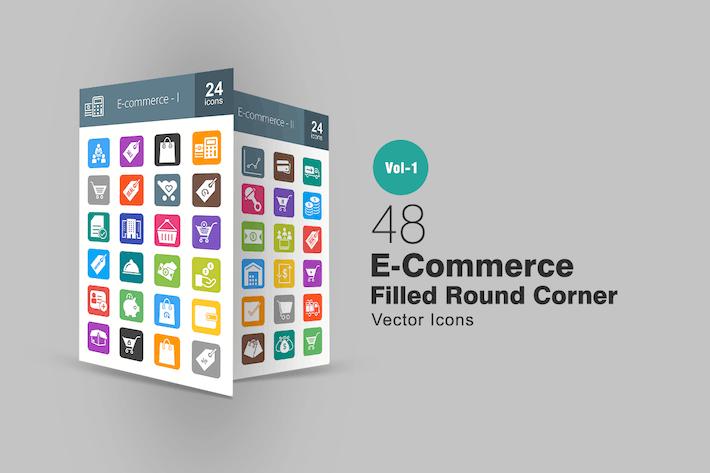 Thumbnail for 48 Ecommerce Flat Round Corner Icons