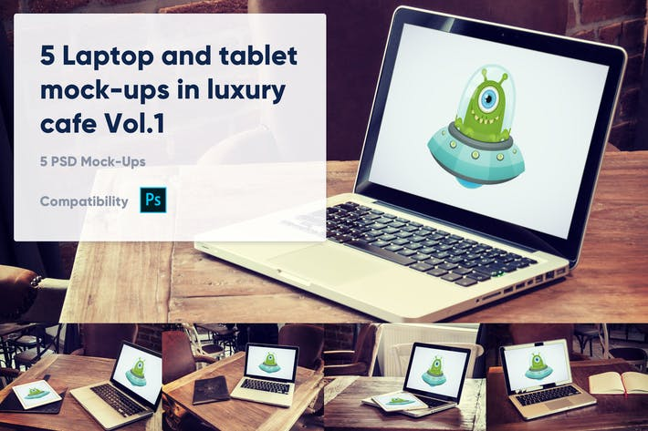 Thumbnail for 5 Laptop and tablet mock-ups in cafe Vol. 1
