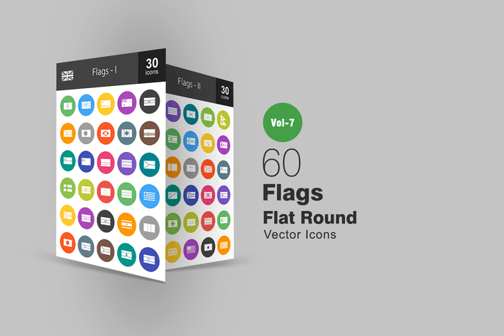 Thumbnail for 60 Flags Flat Round Icons