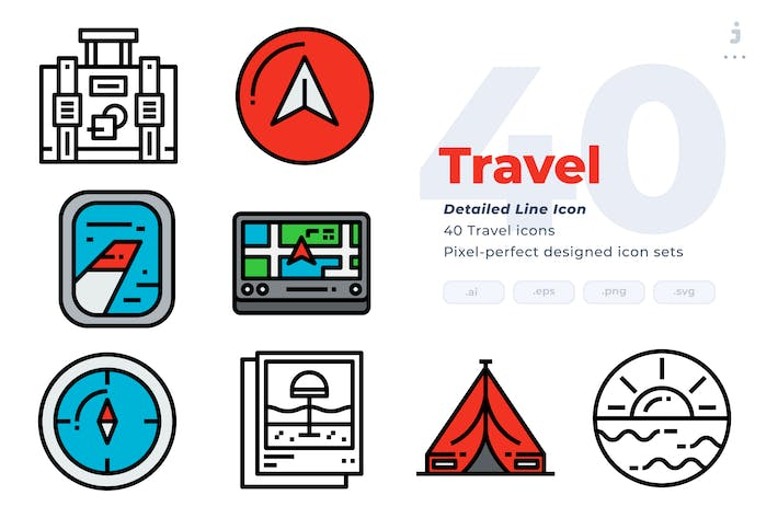 Cover Image For 40 Travel Icons - Detailed Line Icon
