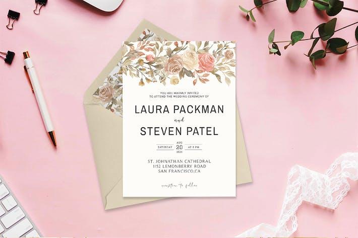 Dusty Rose Wedding Invitation Template V2