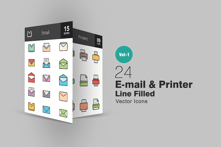 Thumbnail for 24 Email & Printer Line Filled Icons