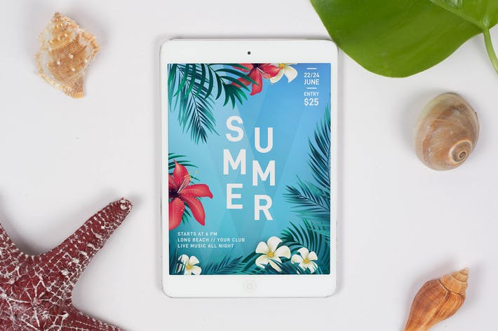 Thumbnail for Summer Tablet Mock Up