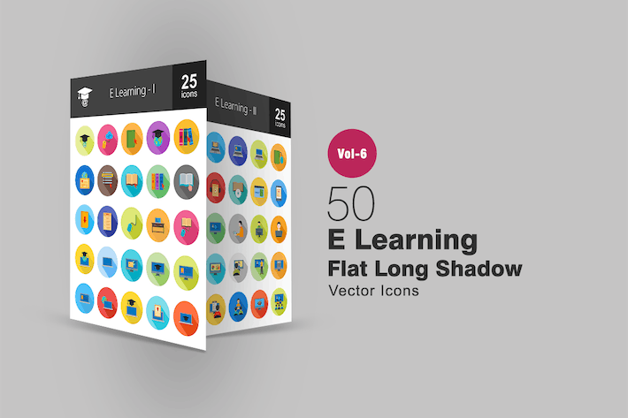 Thumbnail for 50 E Learning Flat Shadowed Icons