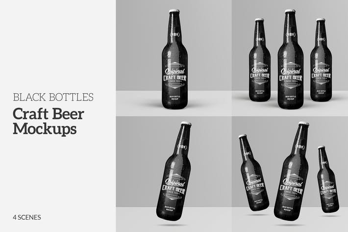Thumbnail for Craft Beer Black Bottle Mockups