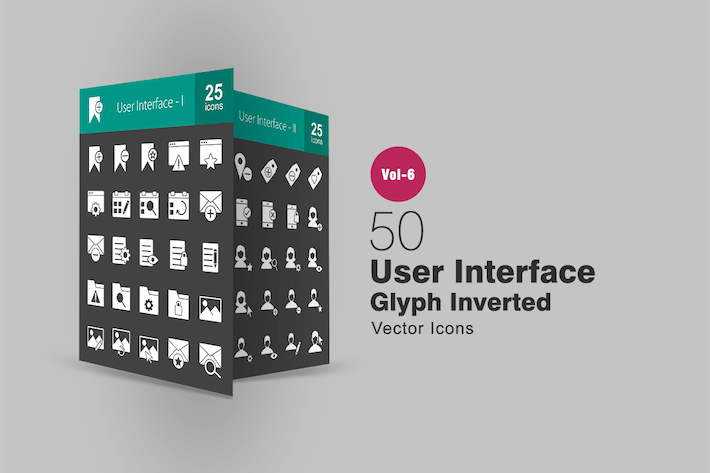 Thumbnail for 50 User Interface Glyph Inverted Icons