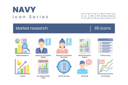 65 Market Research Flat Icons