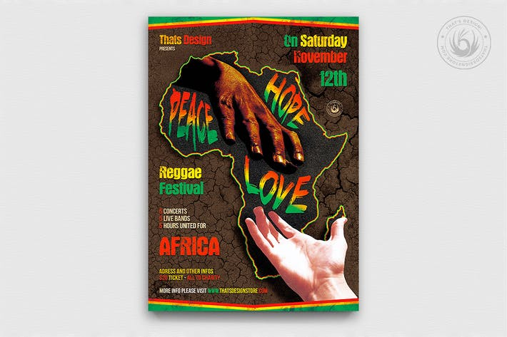 Thumbnail for Reggae Africa United Flyer Template
