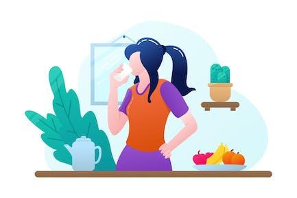 Vida saludable plana - Ilustración Vector