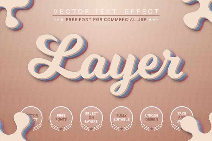 Layers - editable text effect, font style
