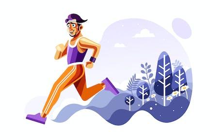 Человек, бегущий вне Вектор иллюстрации