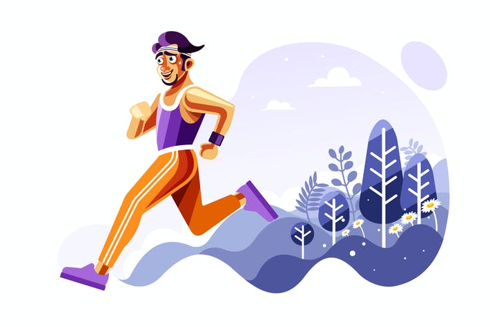 Thumbnail for Man Running Outside Vector Illustration