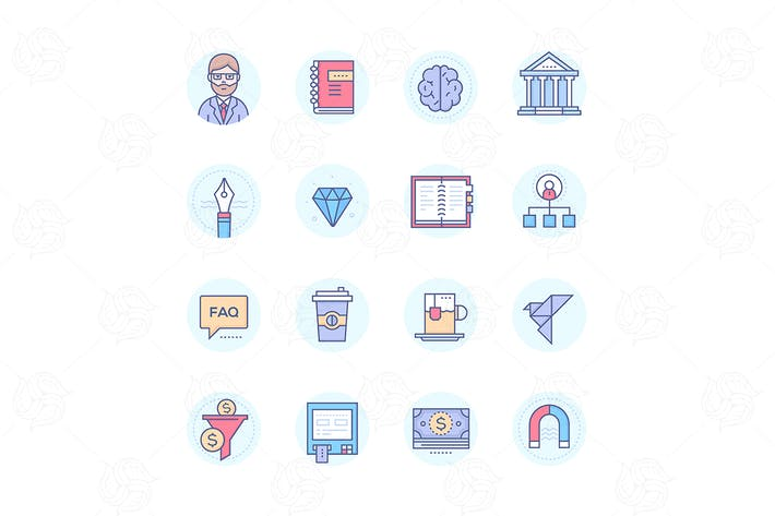 Cover Image For Business and finance - line design icons set